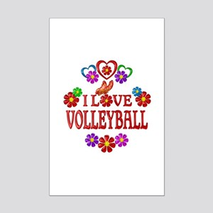 I Love Volleyball Mini Poster Print