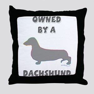 Dachshund Pewter Throw Pillow