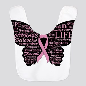 butterfly: breast cancer hope c Polyester Baby Bib