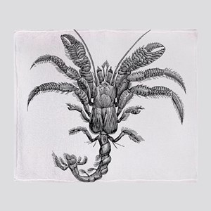 Vintage Hermit Crab Marine Crabs Bla Throw Blanket
