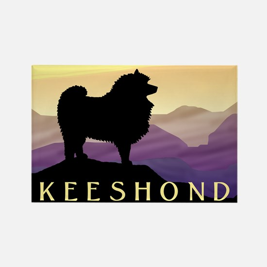 Keeshond Purple Mountain Rectangle Magnet