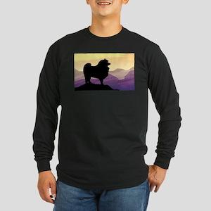 Keeshond Purple Mountain Long Sleeve Dark T-Shirt