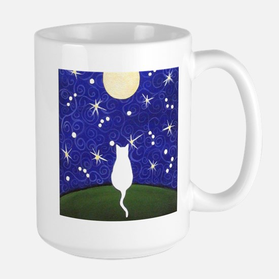 White CAT Starry Night MOON Mugs