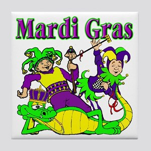 Mardi Gras Jesters and Gator Tile Coaster