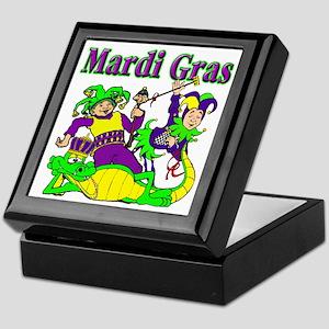 Mardi Gras Jesters and Gator Keepsake Box