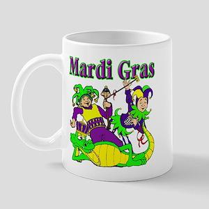 Mardi Gras Jesters and Gator Mug