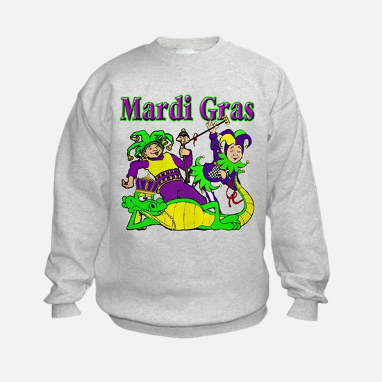 Mardi Gras Jesters and Gator Sweatshirt