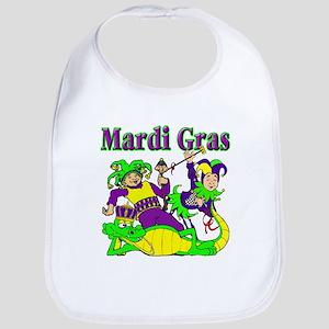 Mardi Gras Jesters and Gator Bib