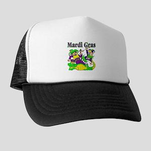 Mardi Gras Jesters and Gator Trucker Hat