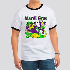 Mardi Gras Jesters and Gator Ringer T