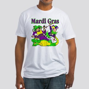 Mardi Gras Jesters and Gator Fitted T-Shirt
