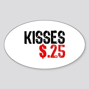 Kisses $.25 Oval Sticker