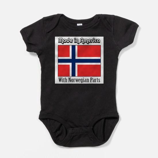 Funny Norwegian american Baby Bodysuit