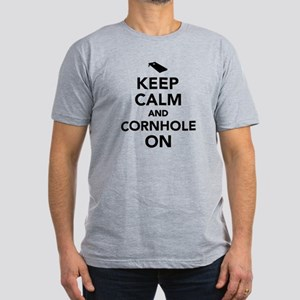 Keep calm and Cornhole Men's Fitted T-Shirt (dark)