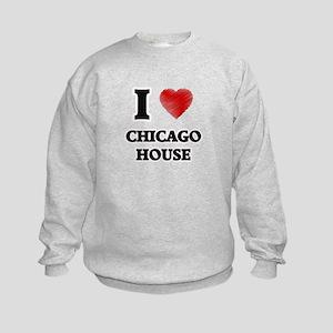 I Love Chicago House Kids Sweatshirt