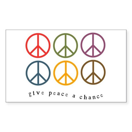Give Peace a Chance - 6 Signs Sticker (Rectangular