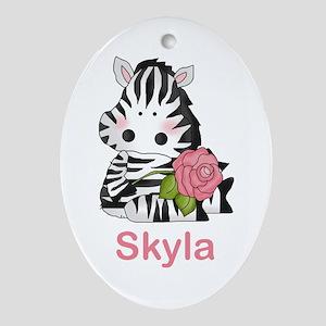 Skyla's Zebra Rose Oval Ornament