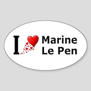 I Love Marine Le Pen Sticker (Oval)