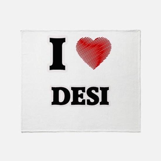 I Love Desi Throw Blanket
