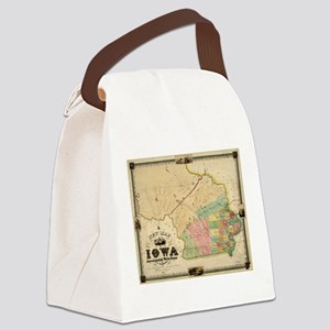 Vintage Map of Iowa (1845) Canvas Lunch Bag