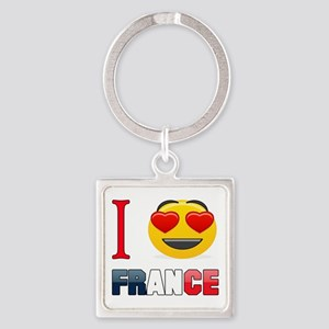 I love France Square Keychain