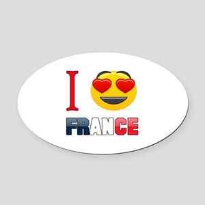 I love France Oval Car Magnet