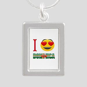 I love Dominica Silver Portrait Necklace