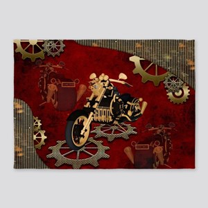 Steampunk, awesome motorcycle with gears 5'x7'Area
