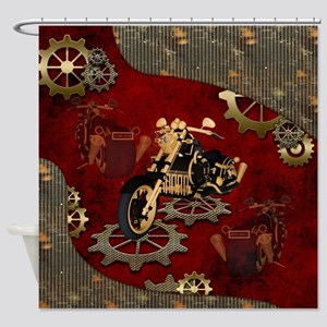 Steampunk, awesome motorcycle with gears Shower Cu