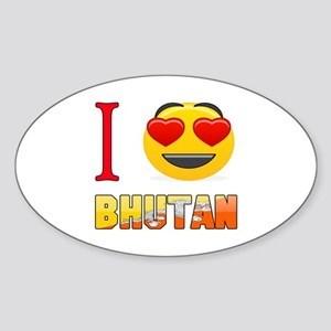I love Bhutan Sticker (Oval)