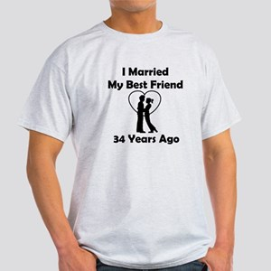 34th Wedding Anniversary. I Married My Best Friend 34 Years Ago T-Shirt