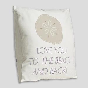 To The Beach Burlap Throw Pillow