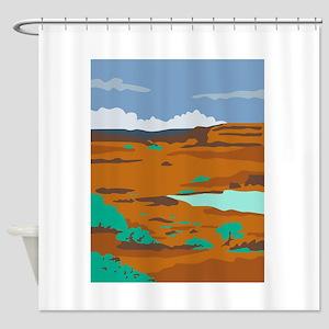 Columbian Basin Desert Scene WPA Shower Curtain