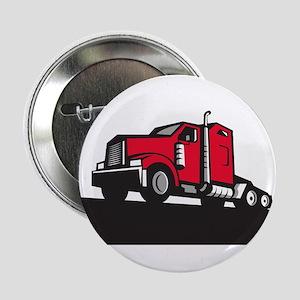 """Semi Truck Tractor Low Angle Retro 2.25"""" Button (1"""