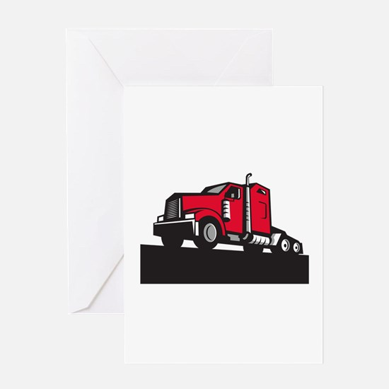 Semi Truck Tractor Low Angle Retro Greeting Cards