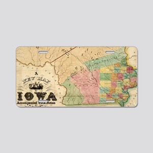 Vintage Map of Iowa (1845) Aluminum License Plate
