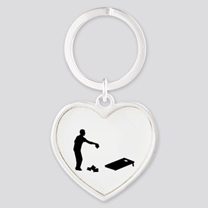 Cornhole Heart Keychain