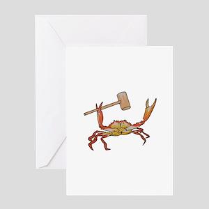 Crab Wtih Mallet Greeting Cards