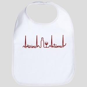 Wine Drinker Wine Time Bottle and Glass EKG Wi Bib