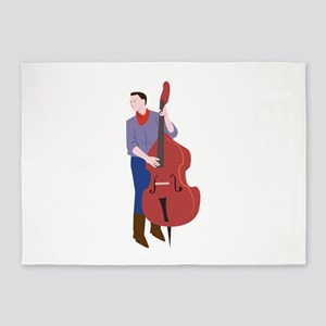 Upright Bass Player 5'x7'Area Rug