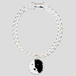 Border Collie Head 1 Charm Bracelet, One Charm