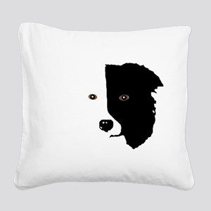 Border Collie Head 1 Square Canvas Pillow