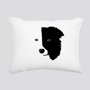 Border Collie Head 1 Rectangular Canvas Pillow