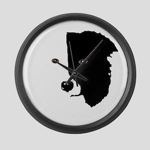 Border Collie Head 1 Large Wall Clock