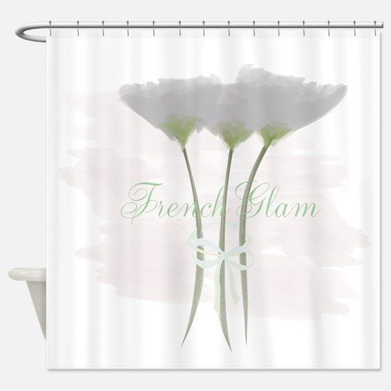 French Glam Watercolor Shower Curtain