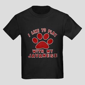I Like Play With My Javanese Cat Kids Dark T-Shirt