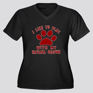 I Like Play Women's Plus Size V-Neck Dark T-Shirt