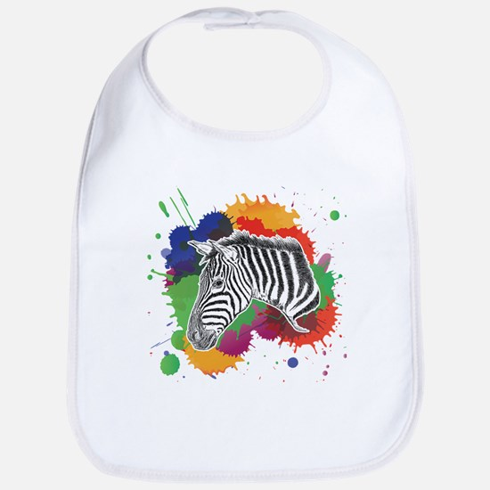 Zebra with Colorful Splash Bib