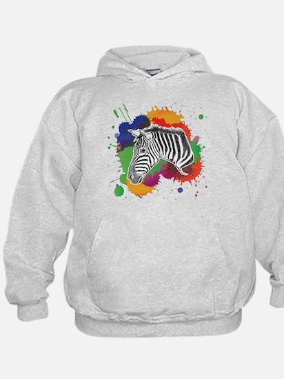 Zebra with Colorful Splash Hoody