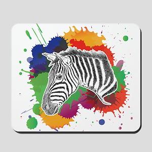 Zebra with Colorful Splash Mousepad